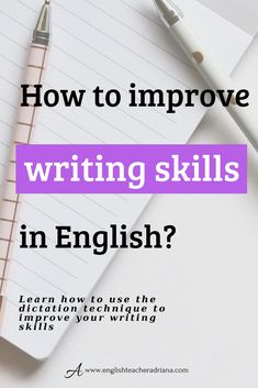How can you improve your English writing skills? Click the link below to learn exactly how to improve your English writing skills using dication Improve Writing Skills, English Writing Skills, English Lessons, Improve Your English, Grammar Lessons, Esl, Vocabulary, Teaching Ideas, Improve Yourself