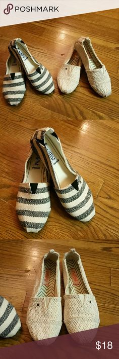 Two for one Mahaw Espadrilles  Shoes Two pair of Mahaw Espadrilles one beige pair and the other one is beige with blue stripes both are in great condition.  No rip or stains.  Both are size 6. Shoes Espadrilles