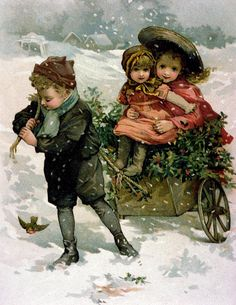Gathering Holly, Victorian card by Mack, Lizzie (nee Lawson) (1867-fl.1880-1902)