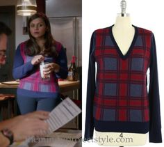 Mindy coordinates her headband with this red and navy plaid sweater…and maybe Danny's glasses? /// Equipment 'Cecile' Plaid V-Neck Sweater (via Ebay, from $58)