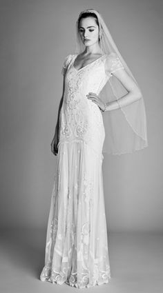 Temperley London Bridal Spring 2012 Ophelia Collection Elisha dress, beaded shoulder veil