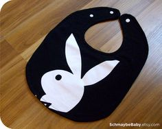 Playboy Bunny Baby Bib, Recycled T-shirt, Funny Baby Shower Baby Boy Gift, OOAK