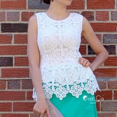 """White Crochet Lace Bridal Peplum Top Blouse Premium quality. Handmade. Guipure lace. Fully lined. Side Zipper. No trades.   Small (appx. US 0/2): bust 34"""" Medium (appx. US 4/6): bust 36"""" Large (appx. US 8/10): bust 38"""" XLarge (appx. US 12/14): bust 40"""" Tops Blouses"""