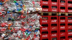 Crushed PET bottles for recycling #coca-colaHellenic #sustainability #environment