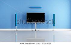 stock photo : minimalist blue home theater white futuristic speaker - rendering