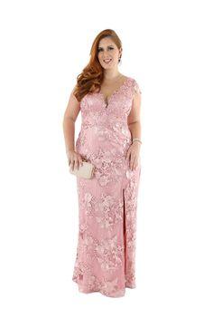 Vestido de Festa Plus Size em Renda com Fenda » Plus Size