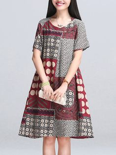 Ethnic Printed Short Sleeve Crew Neck Vintage Dresses Online - NewChic   US$16.99 US$34.00 -50% #Women #Dress #Fashion #Vintage