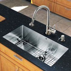 Vigo 30 inch Undermount Single Bowl 16 Gauge Stainless Steel Kitchen Sink with Harrison Chrome Faucet, Grid, Strainer and Soap Dispenser