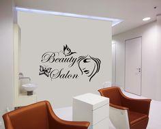 Wall Decals Beauty Salon Hair Fashion Girl Woman Face Haircut Butterflies Floral Flowers Vinyl Sticker Wall Decor Murals Wall Decal: Amazon.co.uk: Kitchen & Home