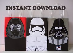 Printable Star Wars Birthday Party ideas/ DIY Star Wars Party Favor Bags/ StarWars Birthday Party/ Decorations/ R2D2/ BB8/ Stormtrooper/ Darth Vader/ Kylo Ren/ Yoda/ Party Favors/ Favor/ Goodie/ Goody/ Candy/ Treat/ Loot/ bags/ boxes/ Fiesta Star Wars/ party ideas/ party/ decor/ fantasia/ Star wars/ Starwars/ cake/ cupcakes toppers/ cookies/ labels/ tags/ party/ banner/ sign/ backdrop/ piñata/ star wars party games/ invite/ invitations/ festa star wars/ bolo/ pastel/ convite/ free…