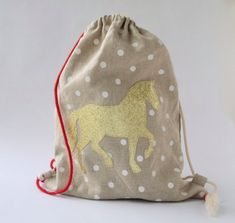 Drawstring Bag for Kids - Gym Bag - Drawstring Pouch for Girls - Back to School Bag - Linen Bag - Pony Backpack - Pony Birthday Gift Idea