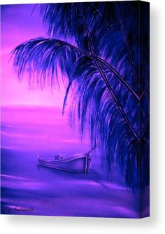 Tropical Art Print featuring the painting Boat At Sunset by Faye Anastasopoulou Sunset Canvas, Sunset Art, Sunset Colors, Wall Art Prints, Canvas Prints, Fine Art Posters, Ocean Scenes, Thing 1, Tropical Art