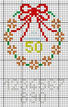 wreath cross stitch with numbers point de croix punta cruz virágkoszorú_b