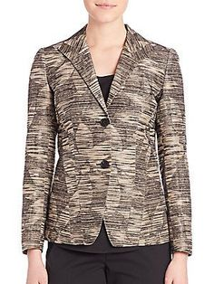 Lafayette 148 New York Floral Jacquard Carmen Jacket - Khaki Color - S