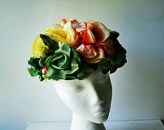 Victorian garden vintage 60s  silk  and velvet multicolor roses  fascinator hand made  hat. One size fits all.