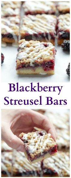 These are a favorite in our home blackberry streusel bars with a buttery crust blackberry filling an oatmeal streusel topping and a vanilla glaze. - Blackberries - Ideas of Blackberries Just Desserts, Delicious Desserts, Diabetic Desserts, Yummy Food, Blackberry Recipes, Blackberry Cobbler, Streusel Topping, Pastry Blender, Sweet Recipes