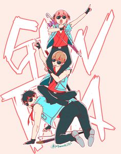 Gintama: Kagura, Okita, and Hijitaka Manga Anime, All Anime, Anime Love, Anime Art, Vocaloid, Silver Samurai, Gekkan Shoujo, Okikagu, Anime Characters
