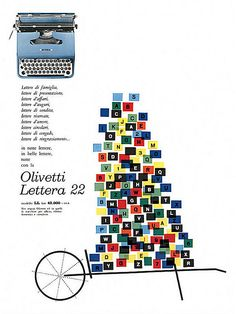Olivetti Lettera 22 typewriter, ad designed by Giovanni Pintori, Vintage Advertisements, Vintage Ads, Vintage Prints, Retro Ads, Vintage Graphic, Graphic Design Typography, Graphic Design Illustration, Music Collage, Vintage Office