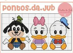 Cross Stitch For Kids, Cross Stitch Baby, Cross Stitch Charts, Cross Stitch Patterns, Mickey Mouse Characters, Mickey Mouse And Friends, Crochet Minnie Mouse Hat, Stitch Cartoon, Baby Mickey