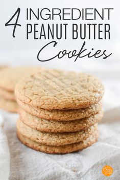 EASY peanut butter cookies with just 4 ingredients! These flourless peanut butter cookies are gluten free and so yummy. Everyone loves these 4 ingredient peanut butter cookies! Flourless Peanut Butter Cookies, Peanut Butter Cookie Recipe, Peanut Butter Recipes, Toffee Cookies, Spice Cookies, Yummy Cookies, Oatmeal Cookies, Cookie Bars, Sugar Cookies