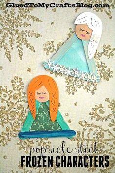 Disney Inspired Popsicle Stick Frozen Characters – Elsa & Anna Eis am Stiel Gefrorene Charaktere – Disneys Elsa & Anna inspiriert – Winter Kid Craft Idea Disney Frozen Crafts, Disney Crafts For Kids, Disney Diy, Christmas Crafts For Kids, Toddler Crafts, Holiday Crafts, Popsicle Stick Crafts For Kids, Popsicle Sticks, Craft Stick Crafts