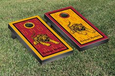 Tuskegee University Golden Tigers Repeat Logo Wallpaper Cornhole Set