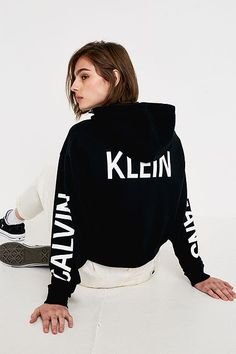 Shop Calvin Klein Jeans Institutional Logo Black Hoodie at Urban Outfitters today. Calvin Klein Hoodie, Calvin Klein Jeans, Elegant Wedding Hair, Cool Outfits, Fashion Outfits, Valentino Black, Nice Clothes, Clothes For Women, Outfit Goals