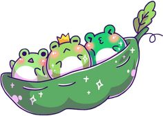 #frog #frogs #kawaii #cute #green #crown #peapod #peas #blush #leaf #sparkle #freetoedit #remixit