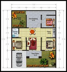 3 denah rumah minimalis 2 lantai 4 kamar