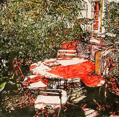 """Secluded backyard Paris (8) 24"""" x 24""""  micheal zarowsky / .Mixed media (watercolour / acrylic painted directly on gessoed birch panel) Available $1580.00"""