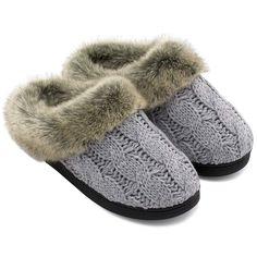 2ea0336ea Women's Cable Knit Faux Fur Collared Slipper