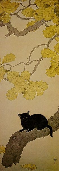 Shunsō Hishida, Black Cat (Kuroki Neko), 1910, Eisei Bunko (now at Kumamoto Prefectural Art Museum, Japan) 菱田春草