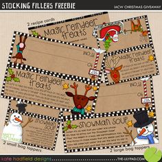 Printable labels for reindeer treats, snowman soup