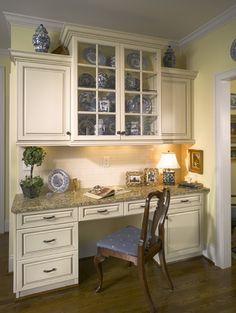 kitchen desk - glass cabinets