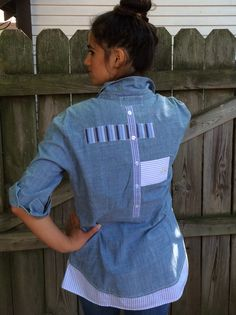 Chambray shirt with menswear appliqué details on back