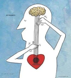 Music comes from the heart cartoon illustration art print Art And Illustration, Illustrations, Music Therapy, Music Stuff, Music Is Life, Art Drawings, Musicals, Artsy, Sketches