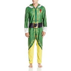 Warner Brothers Men's Buddy the Elf Hooded Uniform Union Suit Christmas Pjs, Christmas Costumes, Easy Costumes, Super Hero Costumes, Career Costumes, Mens Onesie, Elf Man, Movie Character Costumes, Union Suit