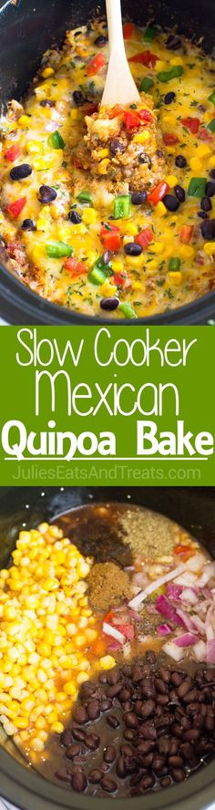 This Slow Cooker Mexican Quinoa Bake takes only 10 minutes of prep work and is made with quinoa and all your favorite Mexican ingredients for a thick, filling and delicious slow cooker weeknight meal! ~ http://www.julieseatsandtreats.com