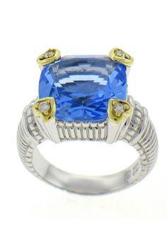 Judith Ripka Blue Quartz Heart Prong Ring