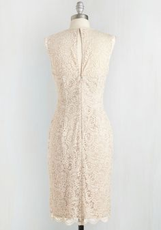Moonlit Sonata Dress. The ceremony has concluded, and you feel anew swaying under the stars in this elegant sheath dress. #cream #wedding #bride #modcloth
