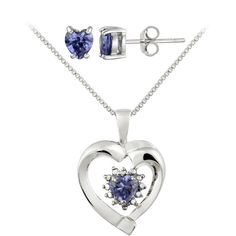 Glitzy Rocks Silver Diamond Accent And Blue Cubic Zirconia Heart... ($27) ❤ liked on Polyvore featuring jewelry, blue, pave heart pendant, silver butterfly pendant, silver heart pendant, silver butterfly jewelry and cz jewelry
