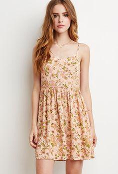 Rose Print Babydoll Dress   Forever 21 - 2000131169