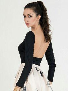b0d5d7b6df Choies Women s Black Scoop Neck Long Sleeve Backless Bodysuit Sexy Thong  Bodysuit M
