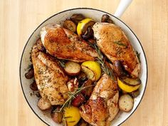 Skillet Rosemary Chicken from Food Network (not quite 1-pot; involves a saucepan and cutting board, too. But fast and uncomplicated).