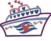 Applique Mouse Cruise Ship in 3 Sizes, Machine Embroidery Design. $3.50, via Etsy.