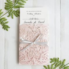 gorgeous  pink laser cut wedding invitations with gray band SWWS034_3