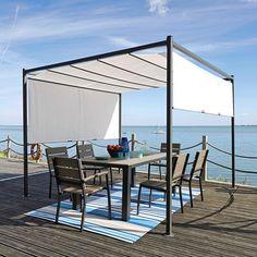 Tavolo grigiastro da giardino in materiale composito simil legno e alluminio L 180 cm