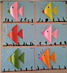 trinagle fish craft - Math craft activities for kids - Fish Crafts Preschool, Math Crafts, Craft Activities For Kids, Toddler Crafts, Crafts For Kids, Arts And Crafts, Shape Activities, Kids Math, Origami Fish