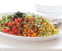 Chopped Mexican Salad with Roasted Peppers, Corn, Tomatoes & Avocado