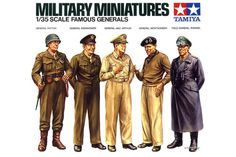 Tamiya Famous Generals 1/35 Scale Plastic Figures   Hobbies The main line up of famous military figures from WW2, will complete any battle scene, with high quality detail.  Tamiya Military Miniatures 1/35 scale assembly kit of 5 famous generals from the WWII era: American Generals Patton, Eisenhower, and MacArthur, British Field Marshal Montgomery, and German Field Marshal Rommel.